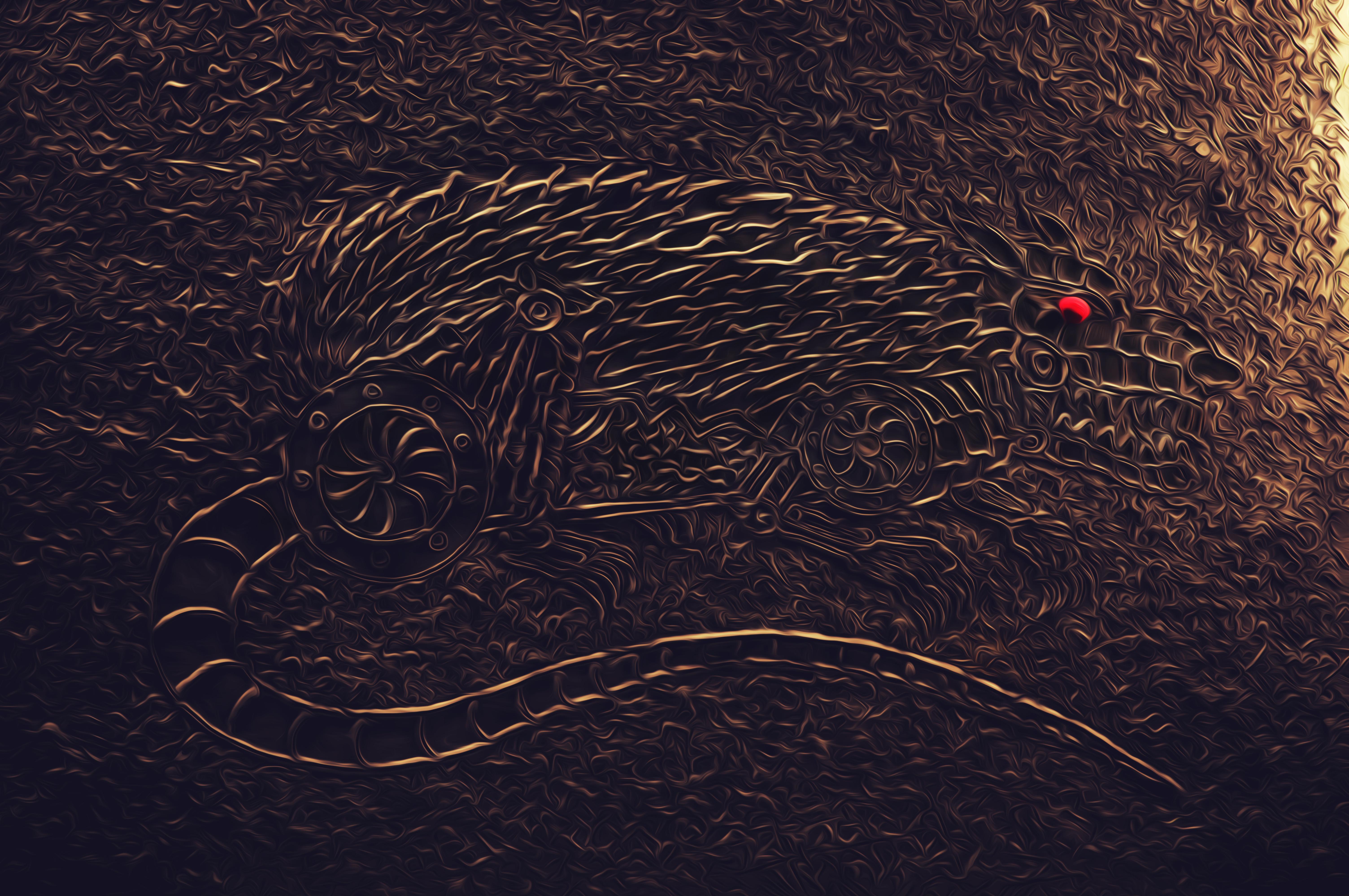 2020 golden metal rat painted texture on plasticine